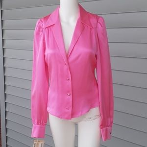 💗 Chloe hot pink button-up silk blouse